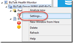 BizTalk Health Monitor Settings Menu