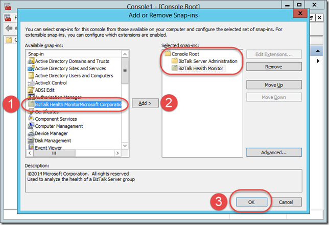 Adding BizTalk Server 2013 R2 Health Monitor to the Console